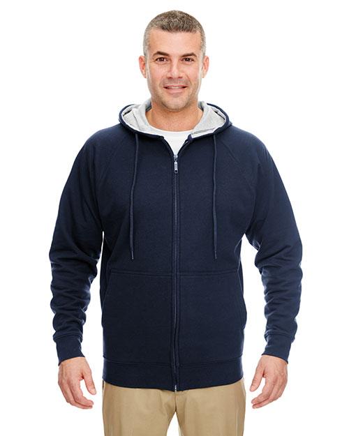 Ultraclub 8463 Men Thermal Full Zip Sweatshirt Navy/ Heather Grey Hood at bigntallapparel