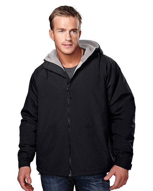 Tri-Mountain 8480 Men Big And Tall Nylon Hooded Jacket With Fleece Lining Black/Gray at bigntallapparel