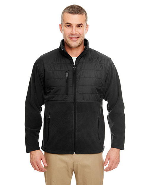 Ultraclub 8492 Men Fleece Jacket With Quilted Yoke Overlay Black at bigntallapparel