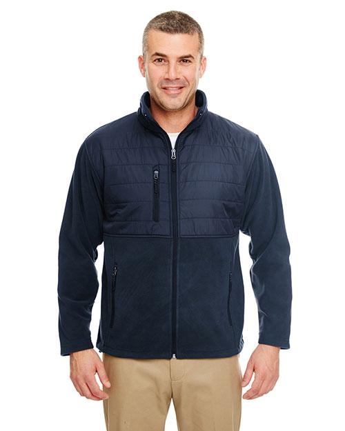 Ultraclub 8492 Men Fleece Jacket With Quilted Yoke Overlay Navy at bigntallapparel