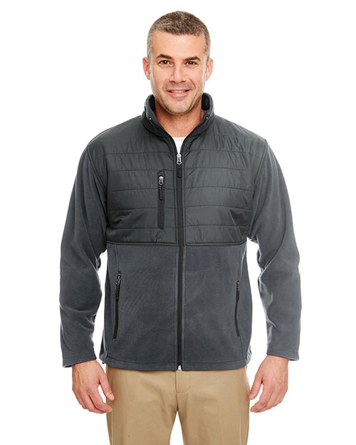Ultraclub 8492 Men Fleece Jacket With Quilted Yoke Overlay Charcoal at bigntallapparel