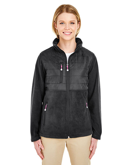 Ultraclub 8493 Women Fleece Jacket With Quilted Yoke Overlay Black at bigntallapparel
