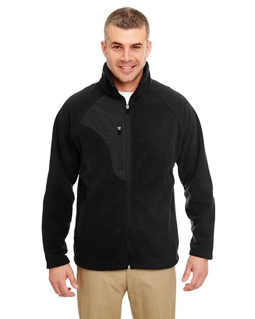 Ultraclub 8495 Men Fullzip Microfleece Jacket With Pocket Black/ Black at bigntallapparel