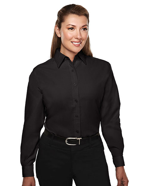 Tri-Mountain 852 Women Rayon/Poly Long Sleeve Shirt With Mini-Houndstooth Pattern Black at bigntallapparel