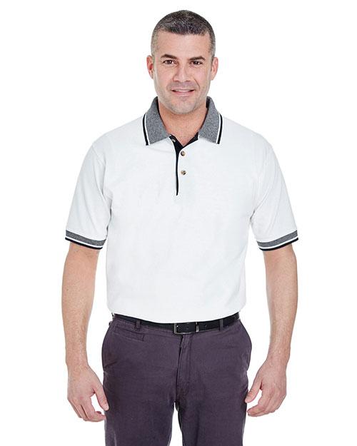 Ultraclub 8536 Men Striped Collar Polo White/ Black at bigntallapparel