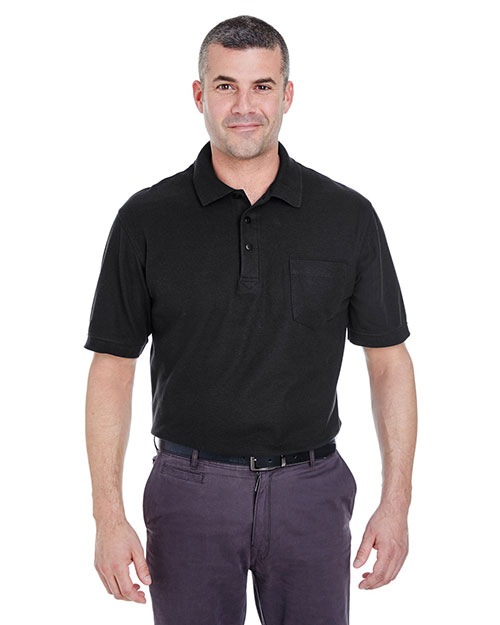 Ultraclub 8544 Men Pocket Pique Polo Black at bigntallapparel