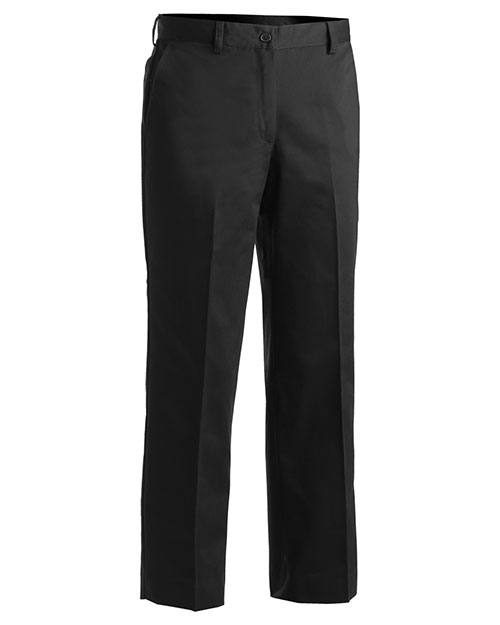 Edwards 8572 Women Microfiber Easy Fit Flat Front Pant Black at bigntallapparel