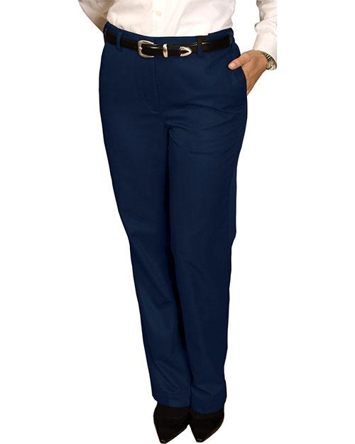 Edwards 8579 Women Blended Chino Flat Front Pant Navy at bigntallapparel