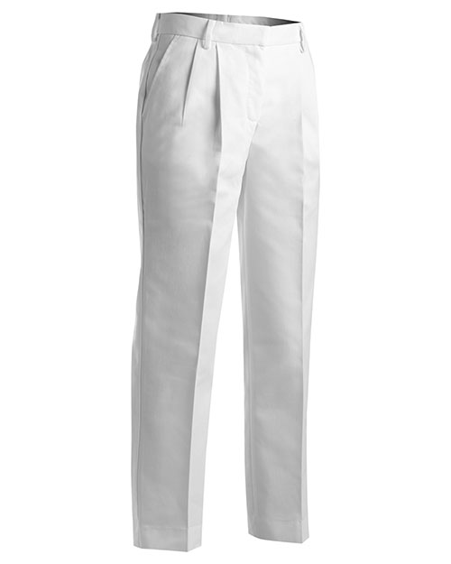 Edwards 8619 Women Business Casual Pleate Pant White at bigntallapparel