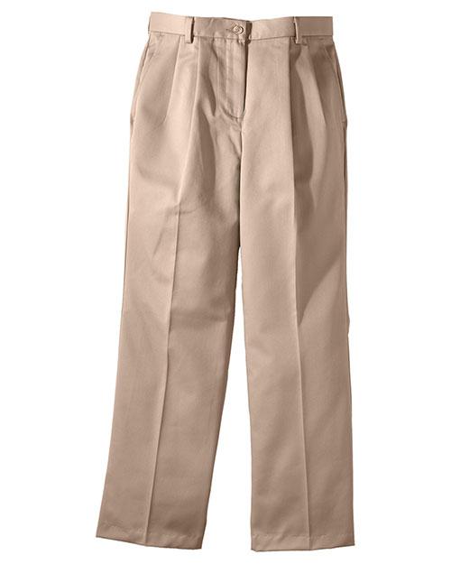 Edwards 8639 Women All Cotton Pleated Pant Tan at bigntallapparel