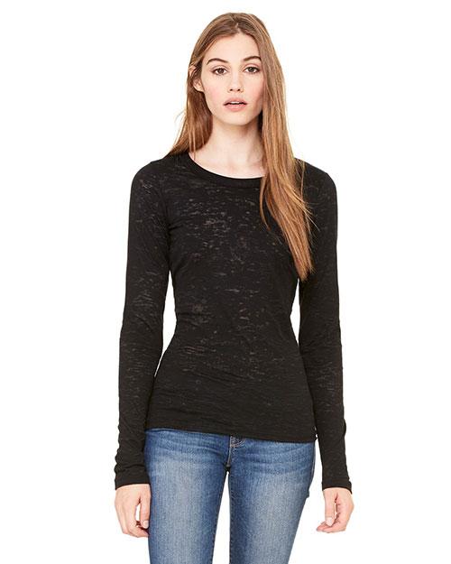 Bella 8650 Women Burnout Long-Sleeve T-Shirt Black at bigntallapparel
