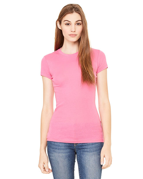 Bella 8701 Women Sheer Mini Rib Short-Sleeve T-Shirt Very Pink at bigntallapparel