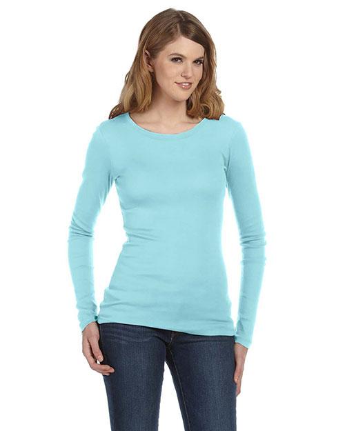Bella 8751 Women Sheer Mini Rib Long-Sleeve T-Shirt Light Aqua at bigntallapparel