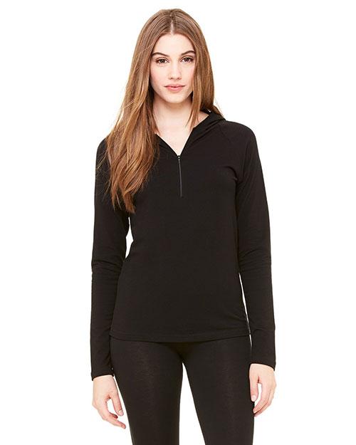 Bella 875 Women Cotton/Spandex Half-Zip Hooded Pullover Black at bigntallapparel