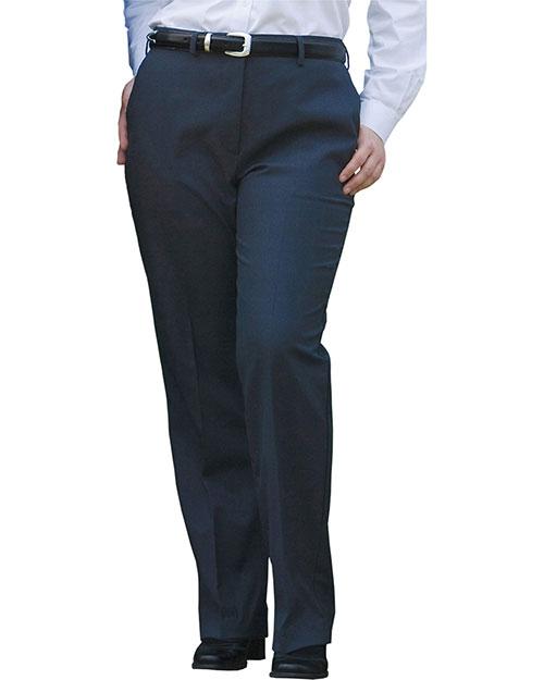 Edwards 8783 Women Wool Blend Flat Front Dress Pant Navy at bigntallapparel