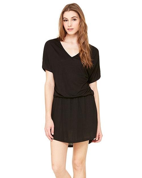 Bella 8812 Women Flowy V-Neck Dress Black at bigntallapparel
