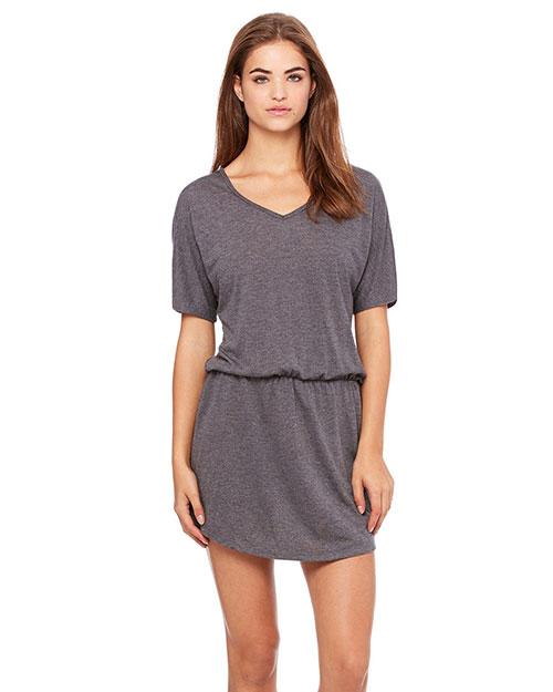 Bella 8812 Women Flowy V-Neck Dress Dark Grey Heather at bigntallapparel