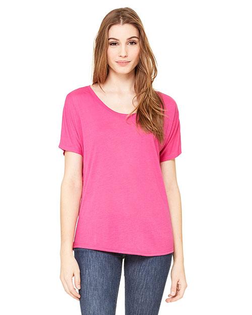 Bella 8816 Women Flowy Simple T-Shirt Berry at bigntallapparel