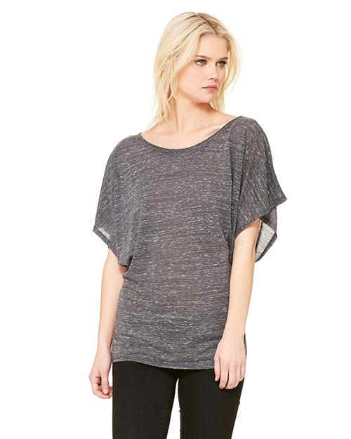 Bella 8821 Women Flowy Draped Sleeve Dolman T-Shirt Charcoal Marble at bigntallapparel