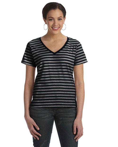 Anvil 8823 Women Striped V-Neck T-Shirt Black/Black/Heather at bigntallapparel