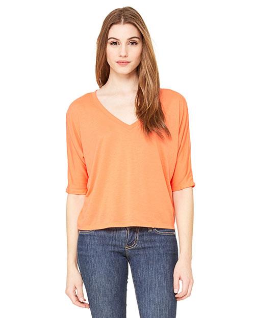 Bella 8825 Women Flowy Boxy Half-Sleeve V-Neck T-Shirt Coral at bigntallapparel