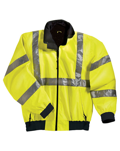 Tri-Mountain 8830 Men Big And Tall  Ansi Compliant Safety Work Jacket With Reflective Tape Lime Green/Black at bigntallapparel