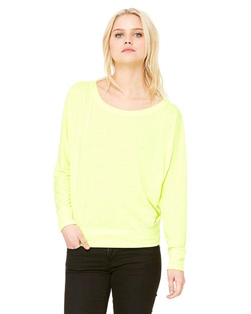 Bella 8850 Women Flowy Long-Sleeve Off Shoulder T-Shirt Neon Yellow at bigntallapparel