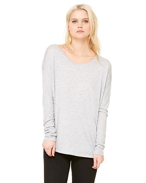 Bella 8852 Women Flowy Long-Sleeve T-Shirt With 2x1 Sleeves Athletic Heather at bigntallapparel