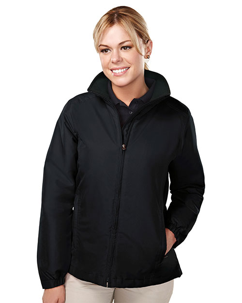 Tri-Mountain 8860 Women 100% Polyester Long Sleeve Jacket With Water Resistent Black/Black at bigntallapparel