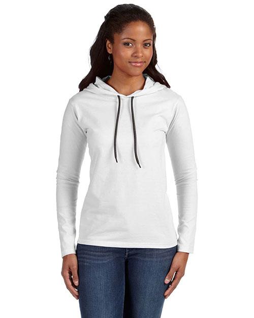 Anvil 887L Women Ringspun Long-Sleeve Hooded T-Shirt White/Dark Grey at bigntallapparel
