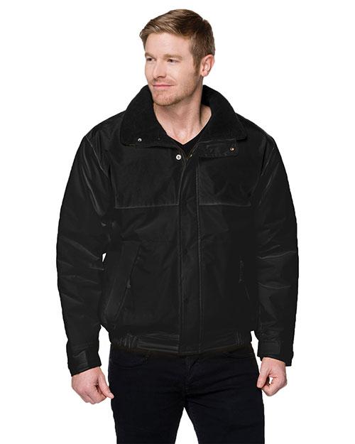 Tri-Mountain 8900 Men Big And Tall Colorblock Nylon Jacket With Fleece Lining Black/Black at bigntallapparel