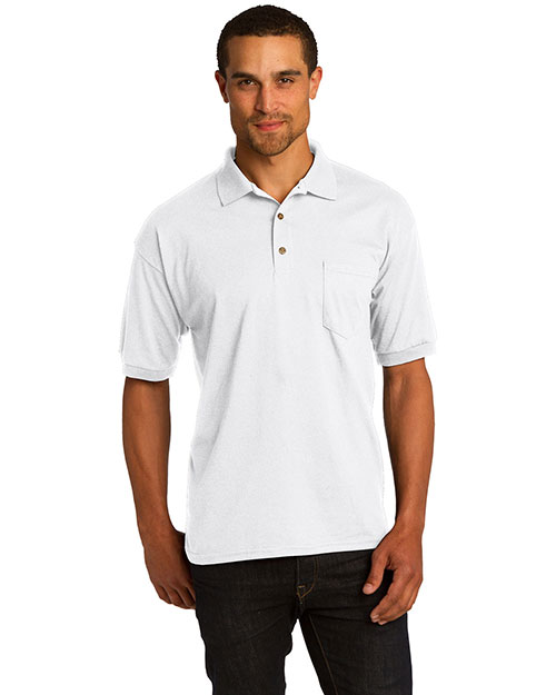 Gildan 8900 Men  Dryblend? 5.6 Ounce Jersey Knit Sport Shirt With Pocket White at bigntallapparel