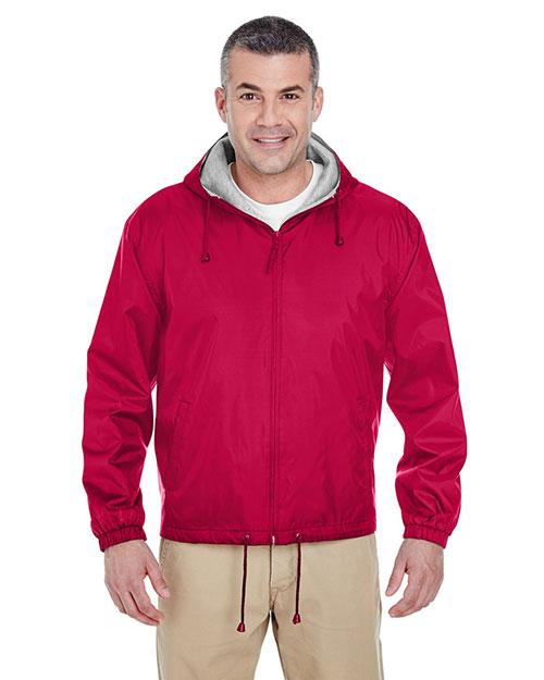 Ultraclub 8915 Men Fleece Lined Jacket Red at bigntallapparel