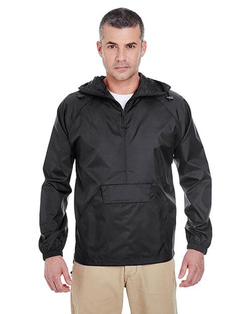 Ultraclub 8925 Men Packaway Jacket Black at bigntallapparel