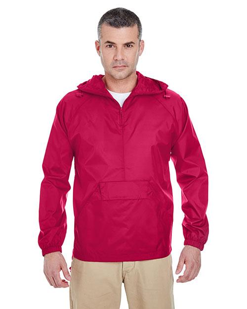 Ultraclub 8925 Men Packaway Jacket Red at bigntallapparel