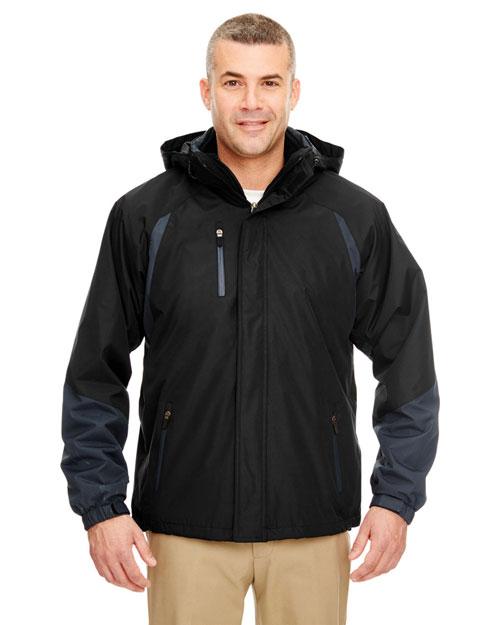 Ultraclub 8939 Men Threeinone Color Block Systems Jacket Black/ Slate at bigntallapparel