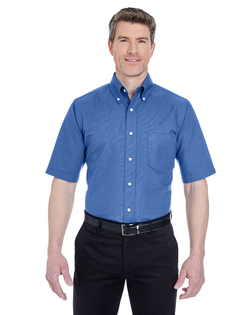 Ultraclub 8972T Men Tall Classic Wrinklefree Shortsleeve Oxford French Blue at bigntallapparel
