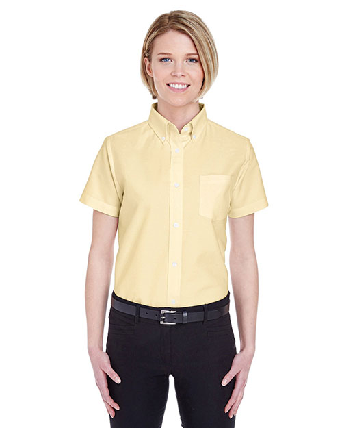 Ultraclub 8973 Women Classic Wrinklefree Shortsleeve Oxford Butter at bigntallapparel