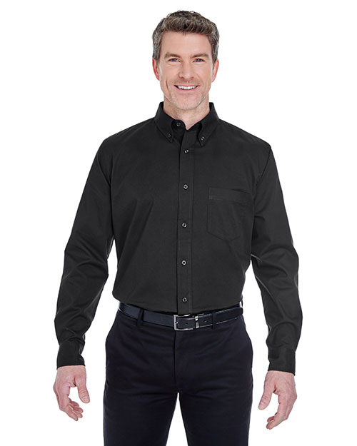 Ultraclub 8975T Men Tall Whisper Twill Shirt Black at bigntallapparel