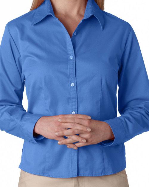 Ultraclub 8976 Women Whisper Twill Shirt Cornflower at bigntallapparel