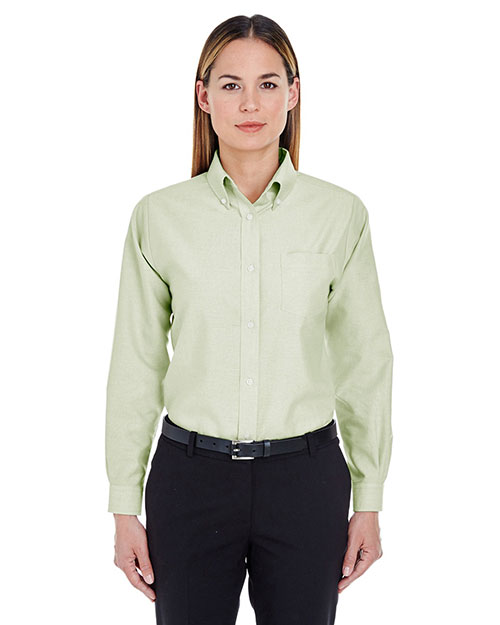 Ultraclub 8990 Women Classic Wrinklefree Longsleeve Oxford Lime at bigntallapparel
