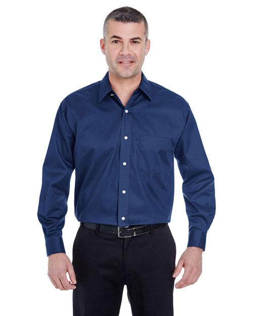 Ultraclub 8991 Men Whisper Elite Twill Shirt Navy at bigntallapparel