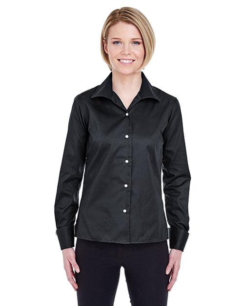 Ultraclub 8992 Women Whisper Elite Twill Shirt Black at bigntallapparel