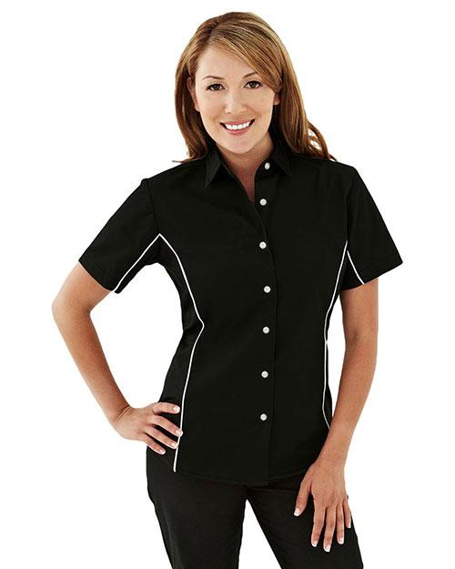 Tri-Mountain 904 Women Tmr 60/40 Twill Shirt With Piping Black/Black/White at bigntallapparel