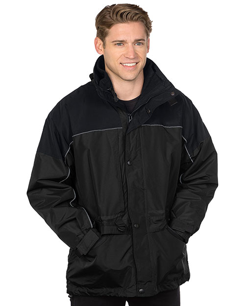 Tri-Mountain 9100 Men Big And Tall  Nylon 3in1 Parka Jacket Black at bigntallapparel
