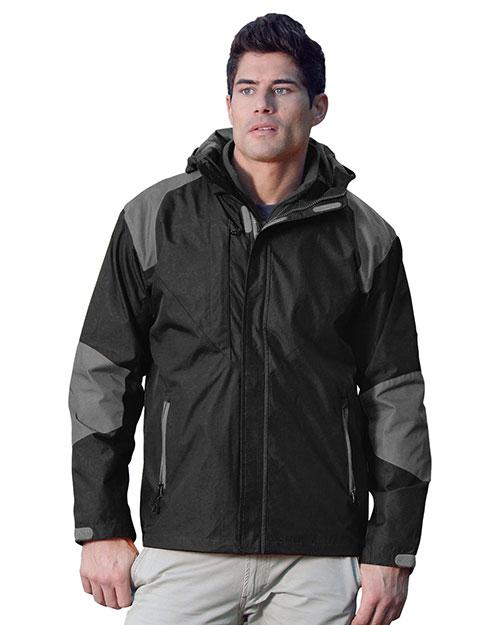 Tri-Mountain 9200 Men 100% Nylon Water Resistant Woven Jacket, Full Lined W/ Hood Black/Charcoal at bigntallapparel