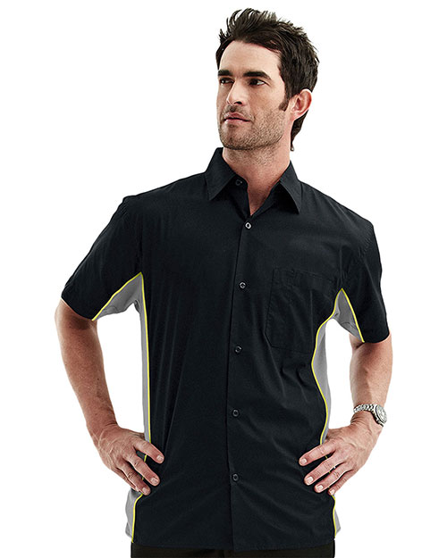 Tri-Mountain 926 Men Cotton/Poly 60/40 Tmr Ss Woven Shirt, W/ Knitted Side Panel Black/Charcoal/Lime at bigntallapparel