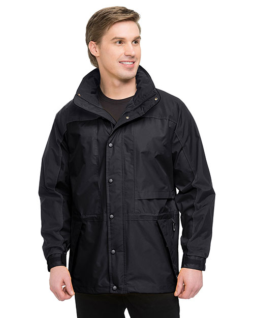 Tri-Mountain 9300 Men Big And Tall  Colorblock Nylon Parka Jacket With Mesh Lining Black at bigntallapparel