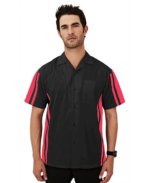 Tri-Mountain 930 Men Cotton/Poly 60/40 Tmr Ss Woven Shirt Black/Red at bigntallapparel