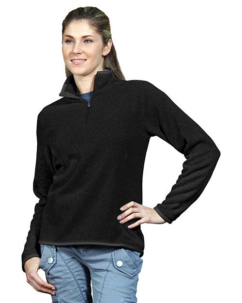 Tri-Mountain 932 Women 100% Polyester 1/4 Zip Sweater Knit Ls Fleece Shirt Black at bigntallapparel